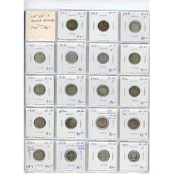 Lot of 19 silver 10 cents: 1915 VG-8, 1917 VF-20, 1918 F-12, 1919 F-12,1921 F-5,1928 F-15, 1929 VF-3