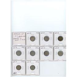 Complete Date Set of 9 Newfoundland George VI silver 10 cents: 1938, 1940, 1941c, 1942c, 1943c, 1944