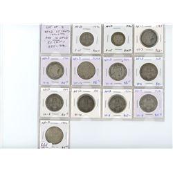 Lot of 12 Newfoundland coins: 1917c 25c F-15, 1919c 25c F-15, 1885 50c aG-3, 1900 50c G-4, 1904H 50c