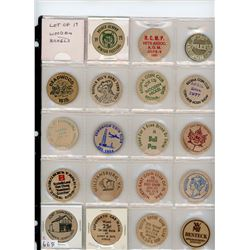 Lot of 19 different wooden nickels including RCMP Vets Assoc, Ottawa Police, Deadwood, Buffalo Bill
