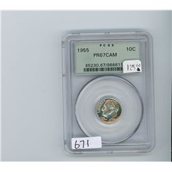 U.S. 1955 silver  dime. PCGS graded Proof-67 Cameo.