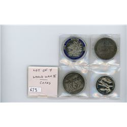 Lot of 4 World War II coins: USS Arizona (2 different), Iwo Jima, and Pearl Harbor.