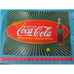 COCA-COLA BOTTLE AND REPRODUCTION COKE SIGN