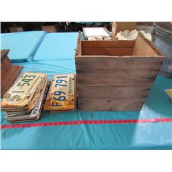 WOODEN BOX WITH ASSORTED LICENSE PLATES (BOX IS 13.5 X 13 X 12)