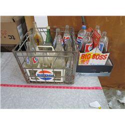 METAL CRATE OF POP BOTTLES AND BOX OF 4 POP BOTTLES