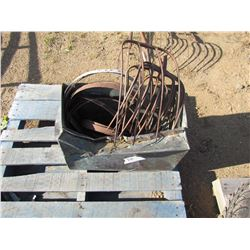 COPPER TUB, METAL RINGS AND PITCH FORK TINES