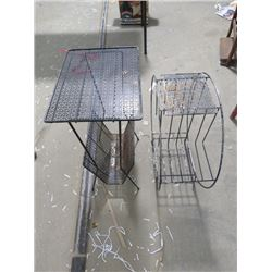 "TWO METAL ART DECO STANDS (ROUND 23"" X 25"", 16.5"" X 28"")"