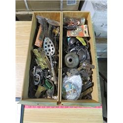 TWO JUNK DRAWERS (COLLECTABLE HARDWARE, ETC.)