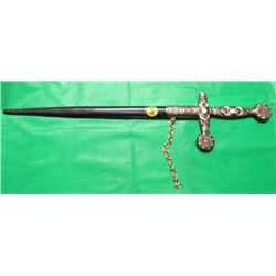 "DECORATIVE SWORD IN SHEATH (INLAY ON BLADE) *19.5"" OVERALL, 12.5"" BLADE* (HAS BROKEN ARM TIP ON HAND"