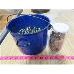 PAIL OF MARBLES AND PENNIES