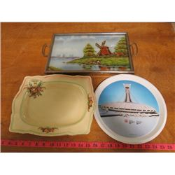 TWO SERVING TRAYS AND OLYMPIC PLATE