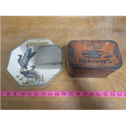 TOBACCO TIN AND ADVERTISING MIRROR