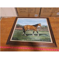 "TWO PICTURES (HORSE PICTURE WITH OAK FRAME 29"" X 25"") *BIRD PICTURE 33.5"" X 21""*"