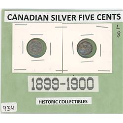 LOT OF TWO CANADIAN FIVE CENT COINS (1899-1900) *SILVER*