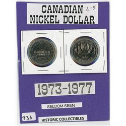 LOT OF 2-ONE DOLLAR COINS (CANADA) *1973-1977*