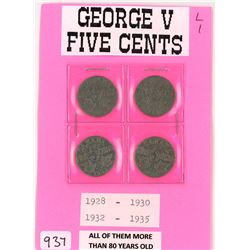 LOT OF 4-FIVE CENT COINS (CANADA) *1928, 1930, 1932, 1935* (SILVER)