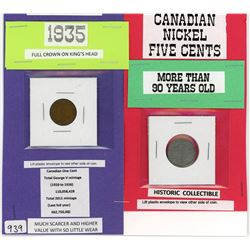 LOT OF 2 CANADIAN COINS (1922 FIVE CENT COIN-SILVER, 1935 GEORVE V ONE CENT COIN)