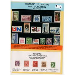 LOT OF 17 HISTORIC US STAMPS (ALSO INCLUDED; 5 SAMPLE STAMPS FOR 100 YEARS OF CANADIAN POSTAGE)