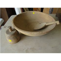 BUTTER BOWL AND PADDLE (WOOD)