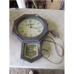 SCHWEPPES ELECTRIC CLOCK (19  TALL X 14  WIDE)