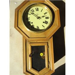 OAK WALL CLOCK (WITH KEY & PENDULUM)
