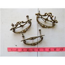 LOT OF 3 METAL DRESSER HANDLES / HARDWARE