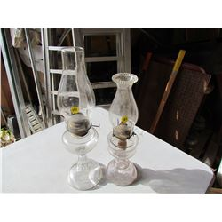 LOT OF 2 COAL OIL LAMPS (#1) *ONE KNOB MAY BE BROKEN*