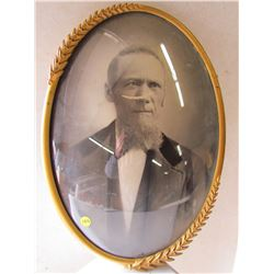 CONVEX GLASS PICTURE AND METAL FRAME (DAMAGED PHOTO)