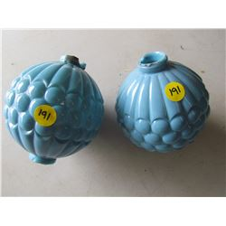 LOT OF TWO BLUE GLASS LIGHTNING ROD BALLS  (SOME CHIPS)