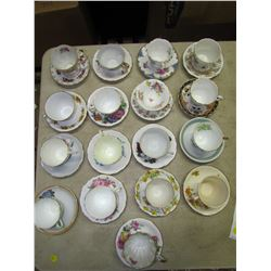 LOT OF 17 CUP & SAUCERS AND 9 TEA CUPS