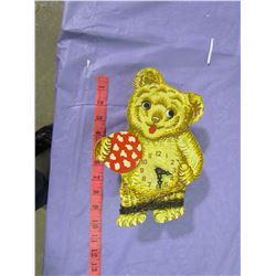 WOODEN TEDDY BEAR CLOCK