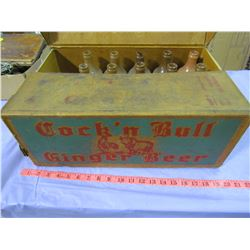 LOT OF 10 BOTTLES AND ORIGINAL CASE COCK & BULL GINGER BEER