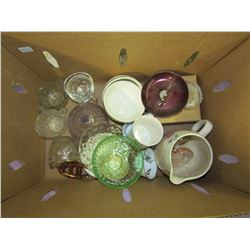 BOX OF MISCELLANEOUS GLASSWARE