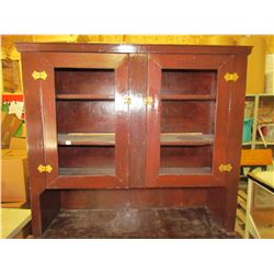 TWO PIECE PRIMITIVE WOODEN CUPBOARD