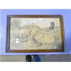 "PICTURE AND FRAME (1924-SHEEP AND DOG) *13"" X 20""*"