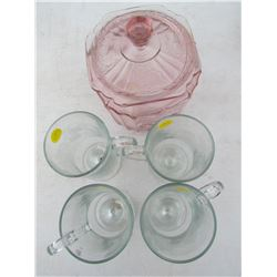 SET OF 4 GLASS MUGS AND 1 PINK GLASS JAR