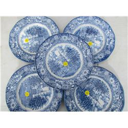 LOT OF 5 BLUE LIBERTY PLATES