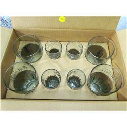 SET OF 8 COCA-COLA GLASSES (4 LARGE, 4 SMALL)