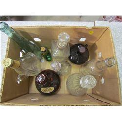 BOX OF UNIQUE WHISKEY & LIQUOR BOTTLES