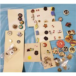 LOT OF PINBACK BUTTONS/ADVERTISING PINS (SOME ROYALTY)