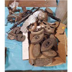 LARGE LOT OF SAD IRONS, WEIGHTS, STOVE PARTS ETC