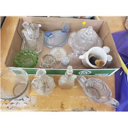 LOT OF GLASSWARE, BUTTER DISH ETC