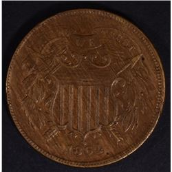 1864 LARGE MOTTO 2 CENT AU MARKS REV