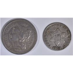 1852 3C SILVER G, & 1867 3C NICKEL XF
