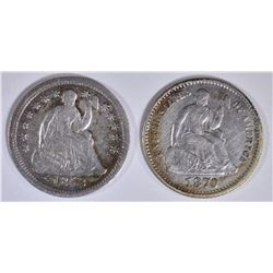 1853 SEATED LIBERTY HALF DIME FINE & 1870 XF
