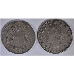 1883 SHIELD NICKEL XF & 83 LIBERTY NICKEL N/C XF