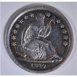 1840 SEATED LIBERTY DIME AU