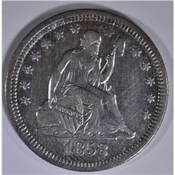 1858 SEATED LIBERTY QUARTER AU