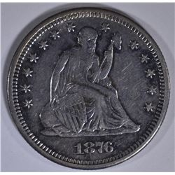 1876-S SEATED LIBERTY QUARTER AU MARK ON OBV.