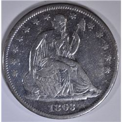1863-S SEATED LIBERTY HALF XF